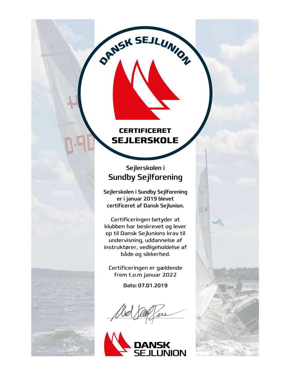 Certificeringscertifikat for Sundby Sejlforenings Sejlerskole januar 2019