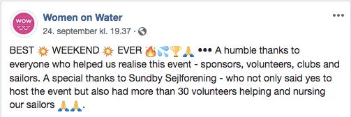 WOWs tak til SSF på facebook 24-09-2018